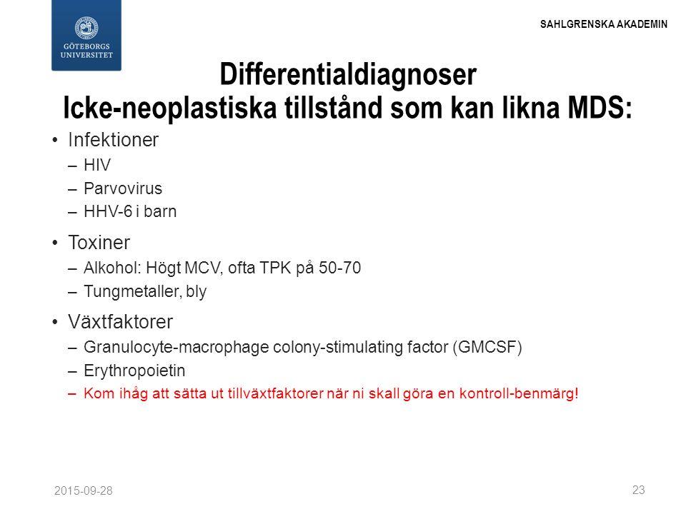 Differentialdiagnoser Icke-neoplastiska tillstånd som kan likna MDS: