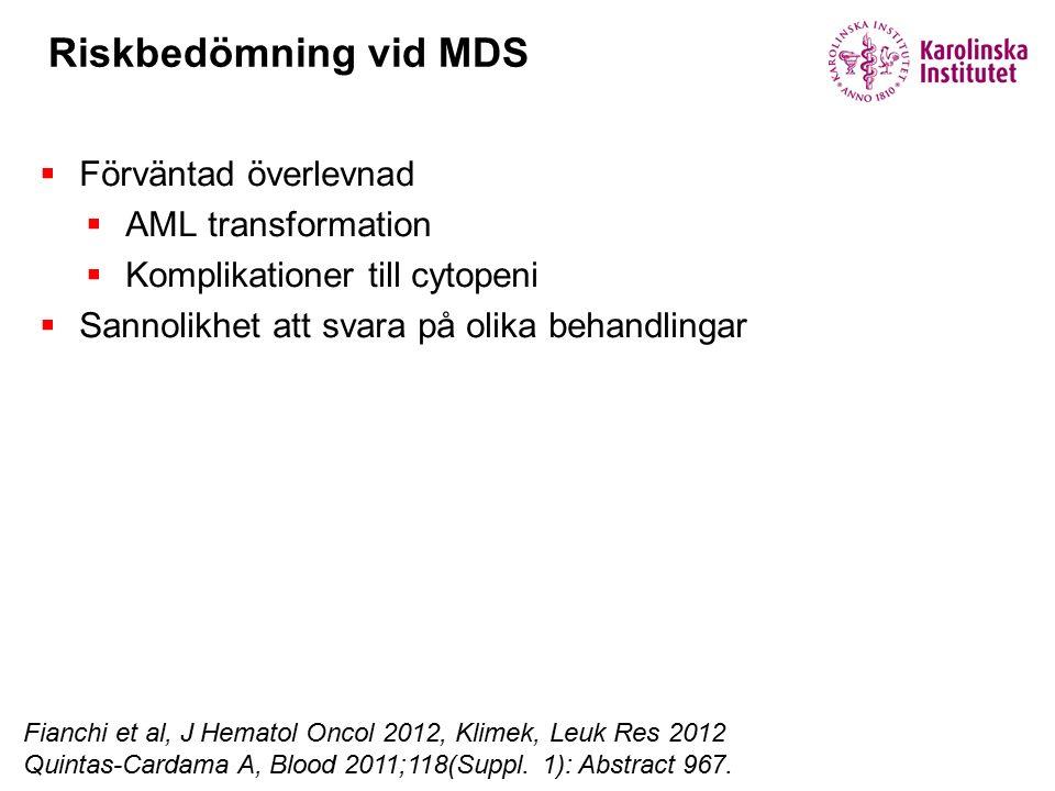 Riskbedömning vid MDS Förväntad överlevnad AML transformation