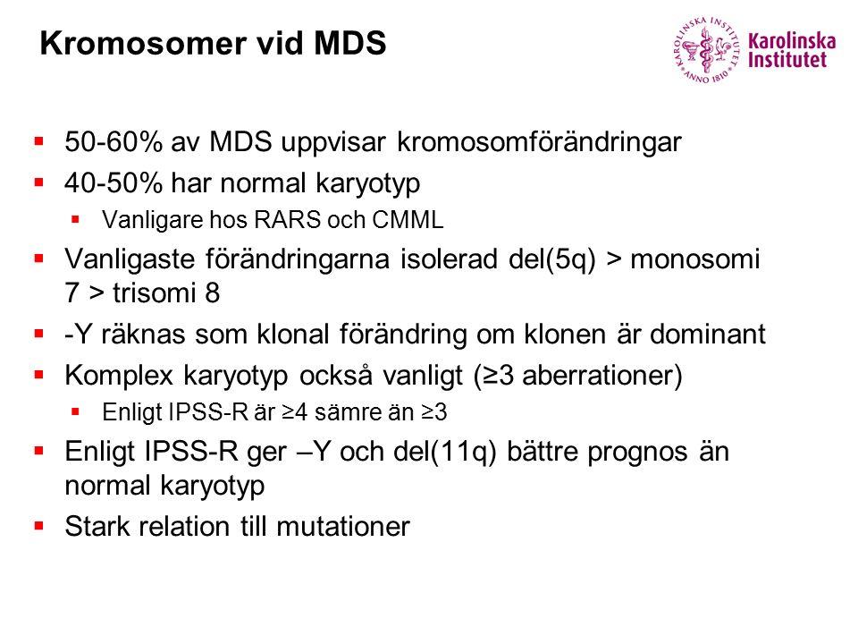 Kromosomer vid MDS 50-60% av MDS uppvisar kromosomförändringar