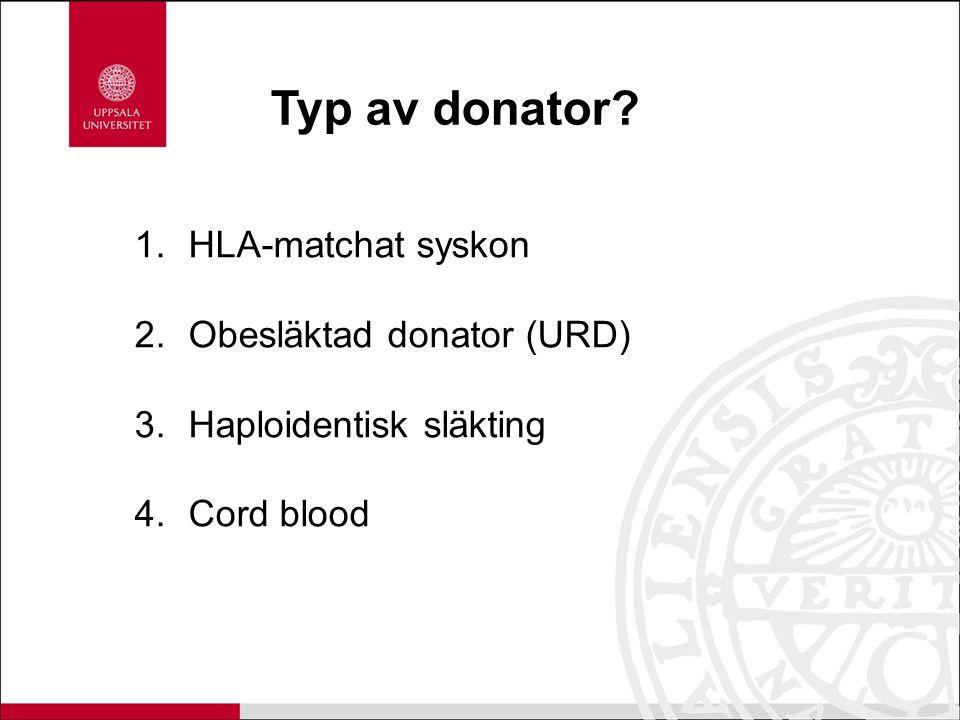 Typ av donator HLA-matchat syskon Obesläktad donator (URD)