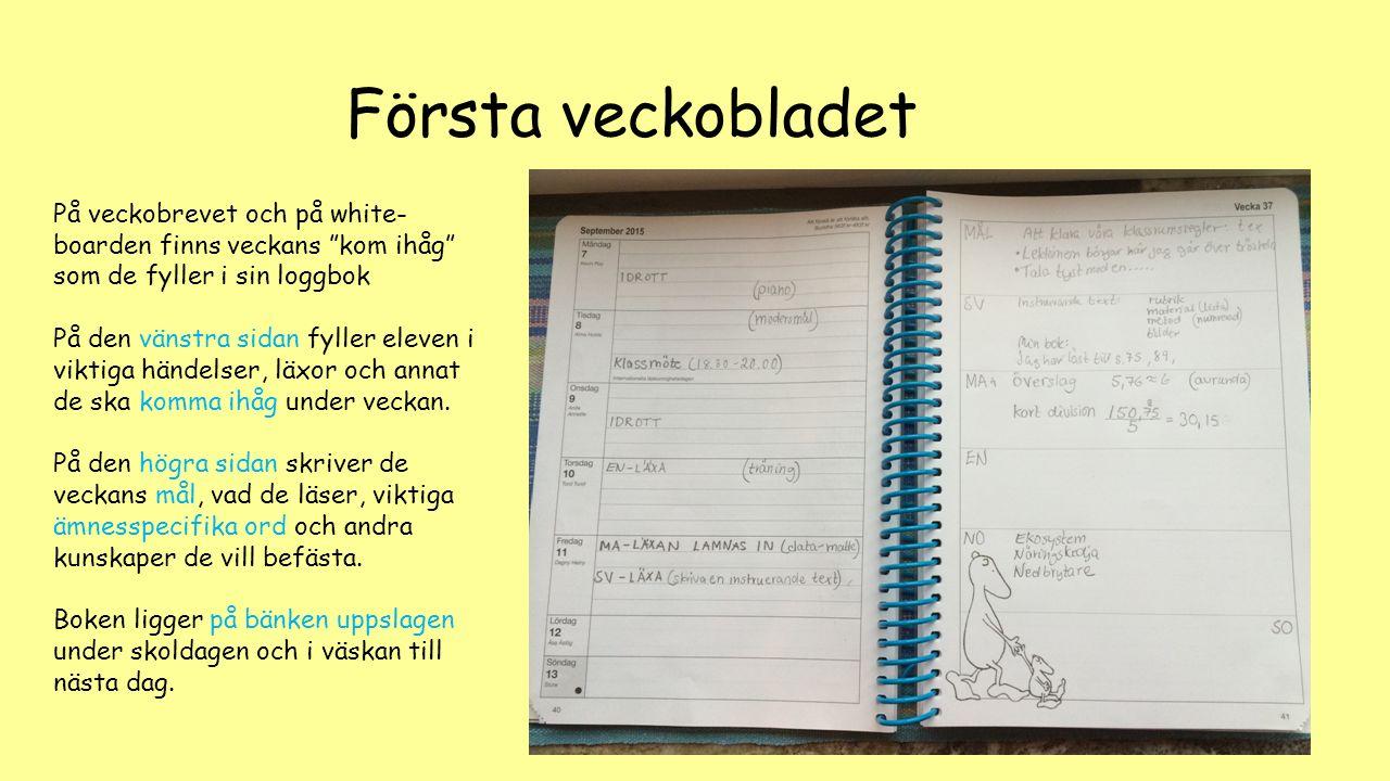 Första veckobladet På veckobrevet och på white-boarden finns veckans kom ihåg som de fyller i sin loggbok.