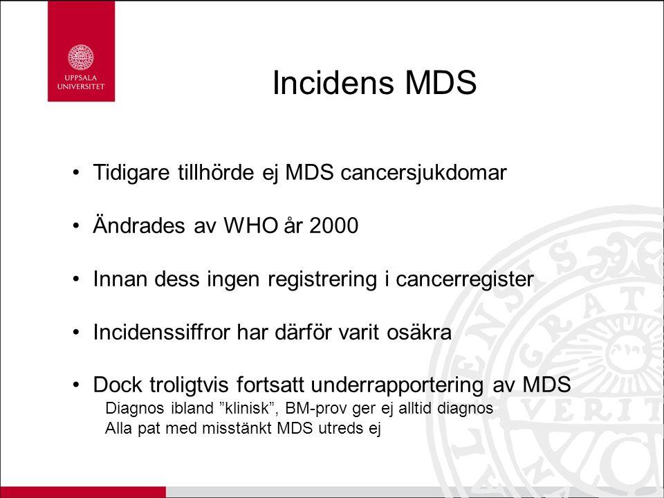 Incidens MDS Tidigare tillhörde ej MDS cancersjukdomar