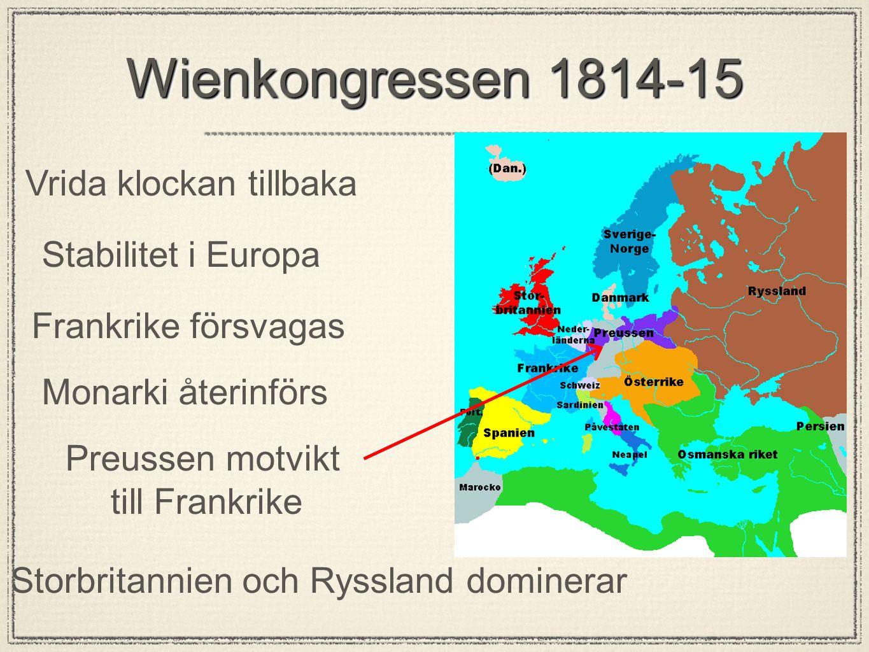Wienkongressen 1814-15 Vrida klockan tillbaka Stabilitet i Europa