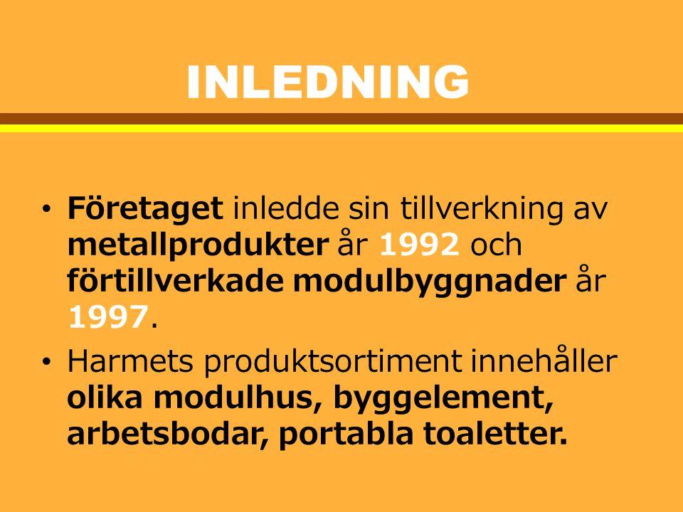 Inledning Företaget inledde sin tillverkning av metallprodukter år 1992 och förtillverkade modulbyggnader år 1997.