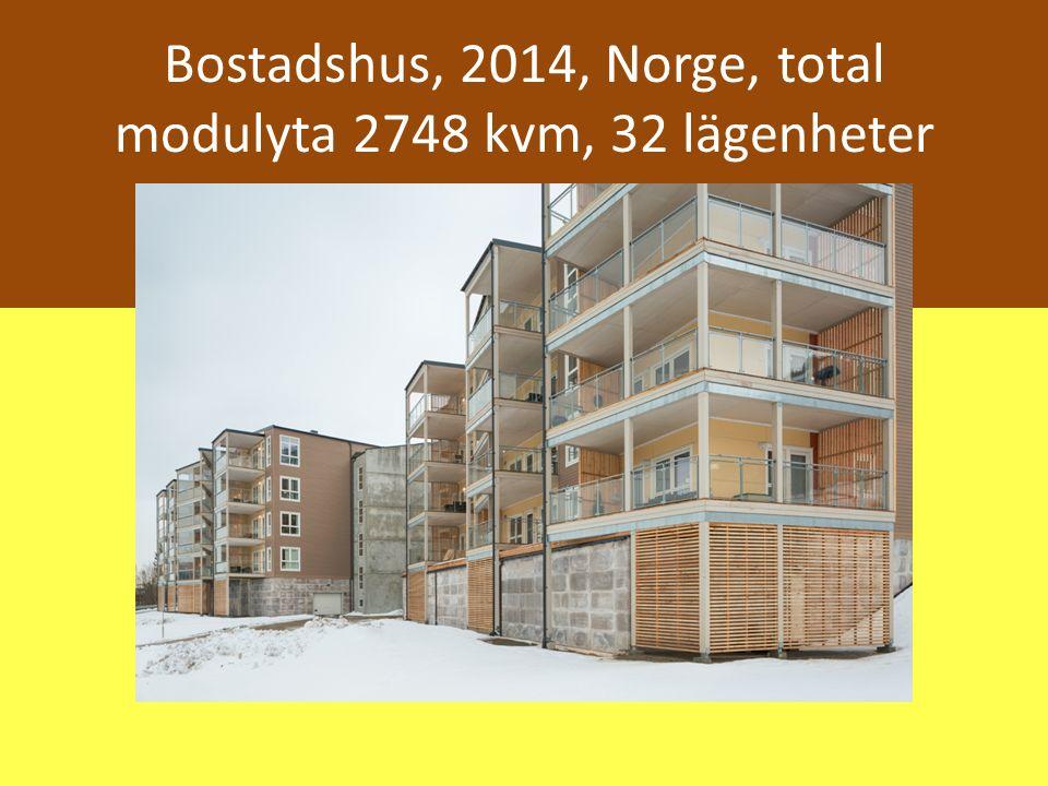 Bostadshus, 2014, Norge, total modulyta 2748 kvm, 32 lägenheter