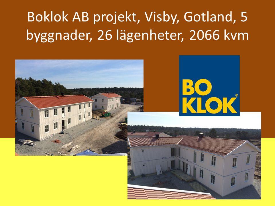 Boklok AB projekt, Visby, Gotland, 5 byggnader, 26 lägenheter, 2066 kvm
