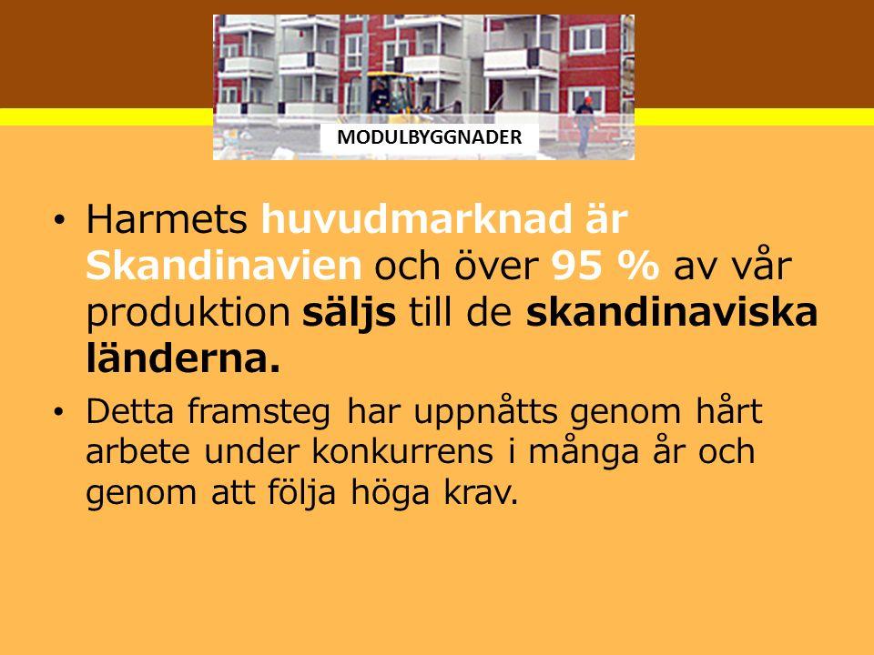 MODULBYGGNADER Harmets huvudmarknad är Skandinavien och över 95 % av vår produktion säljs till de skandinaviska länderna.
