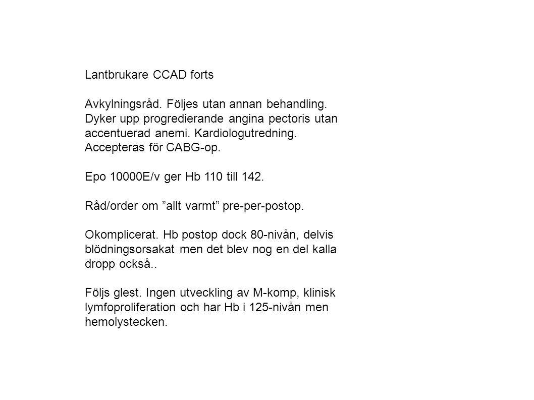 Lantbrukare CCAD forts Avkylningsråd. Följes utan annan behandling.