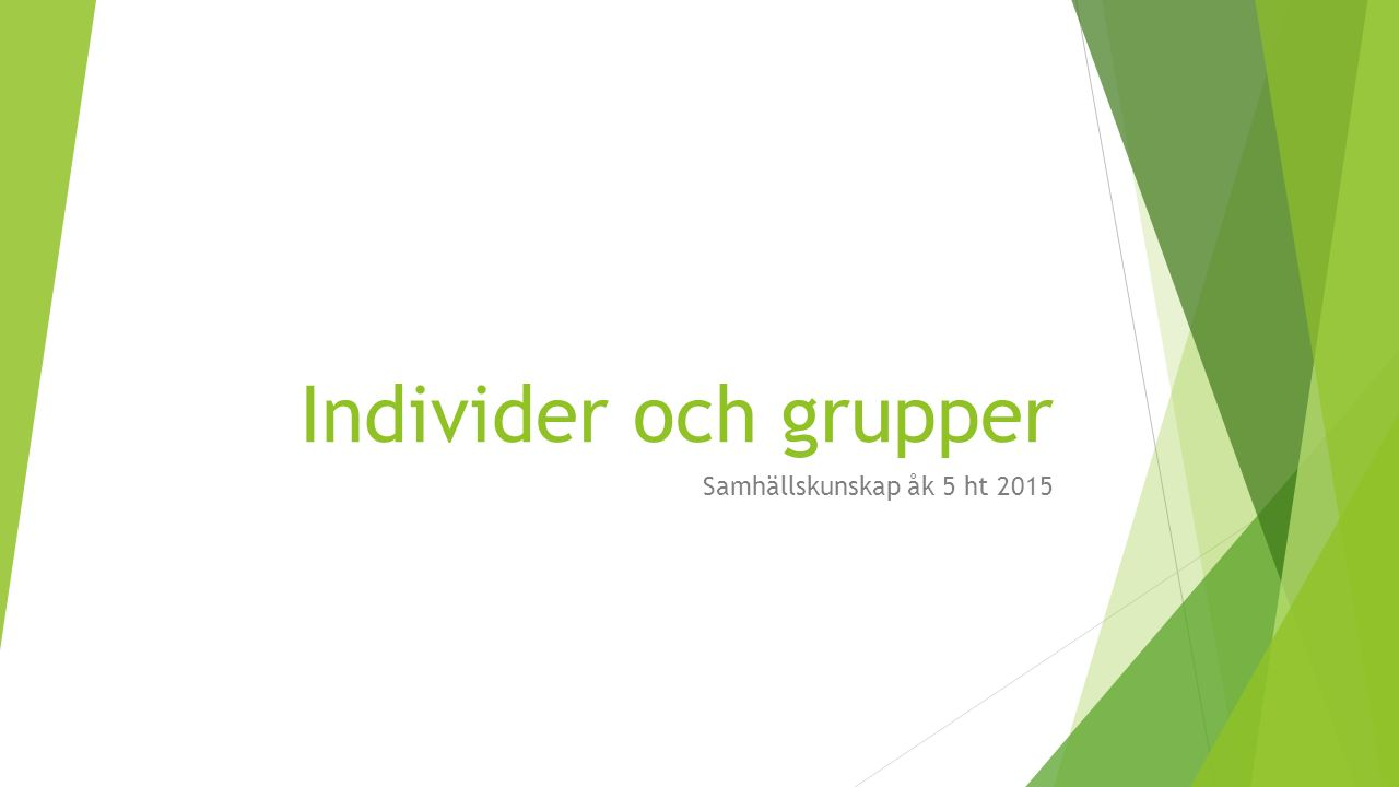 Individer och grupper Samhällskunskap åk 5 ht 2015