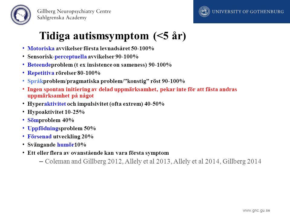 Tidiga autismsymptom (<5 år)