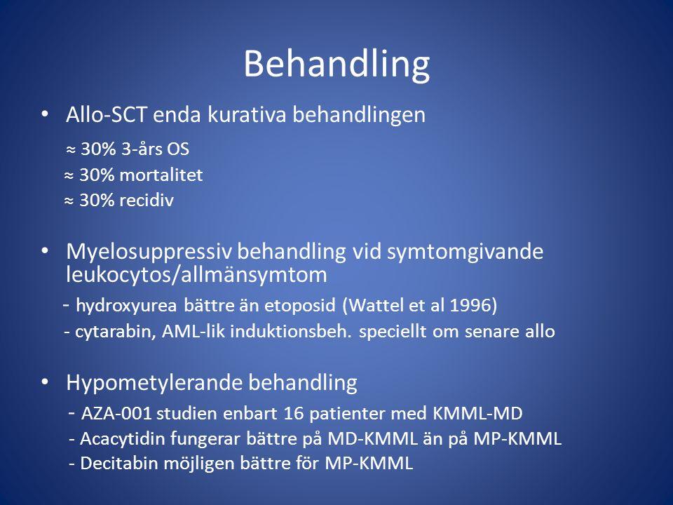 Behandling ≈ 30% 3-års OS Allo-SCT enda kurativa behandlingen