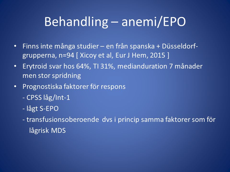 Behandling – anemi/EPO