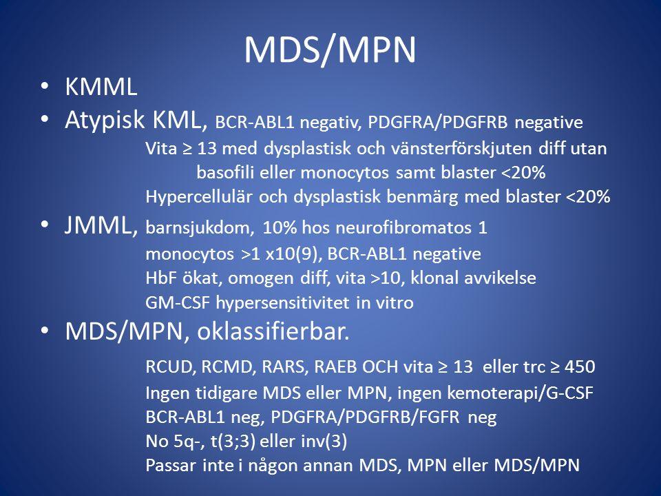 MDS/MPN KMML Atypisk KML, BCR-ABL1 negativ, PDGFRA/PDGFRB negative