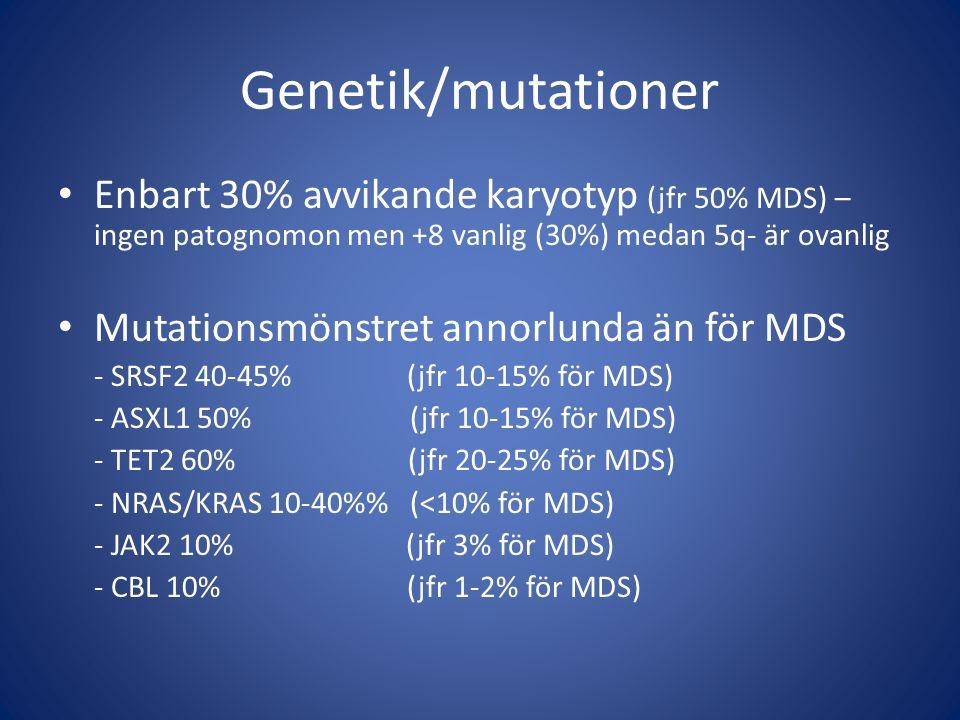 Genetik/mutationer Enbart 30% avvikande karyotyp (jfr 50% MDS) – ingen patognomon men +8 vanlig (30%) medan 5q- är ovanlig.