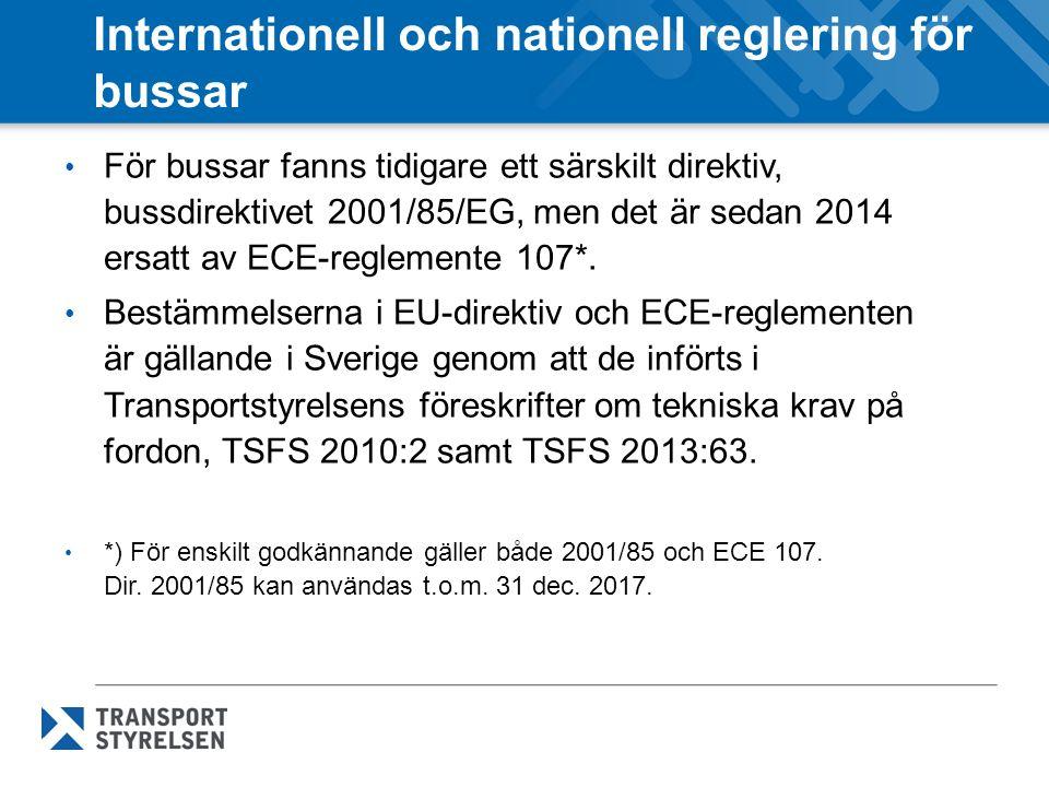 Internationell och nationell reglering för bussar