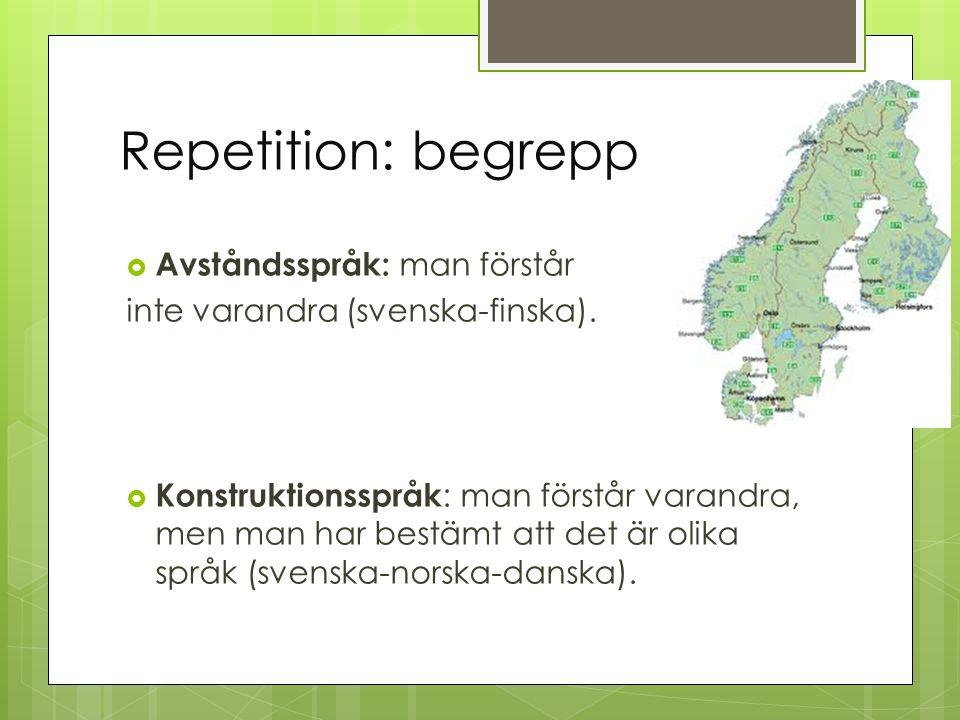 Repetition: begrepp Avståndsspråk: man förstår