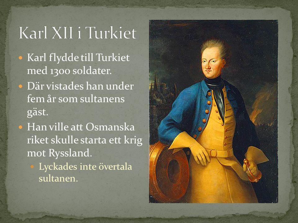 Karl XII i Turkiet Karl flydde till Turkiet med 1300 soldater.