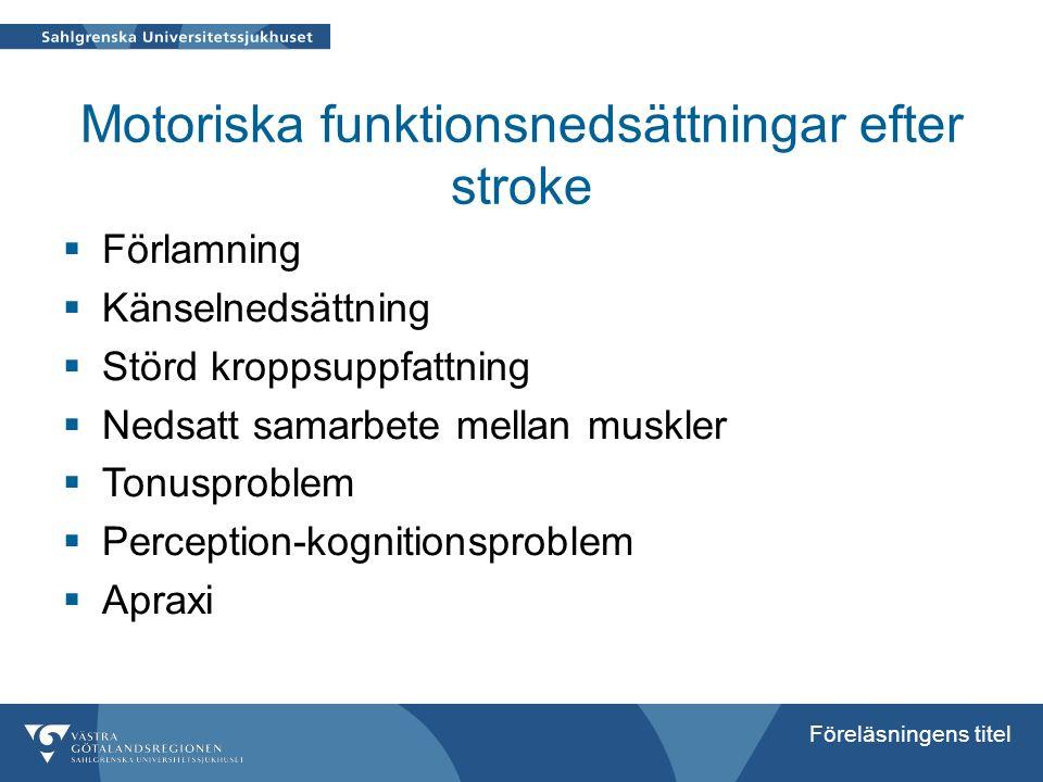 Motoriska funktionsnedsättningar efter stroke