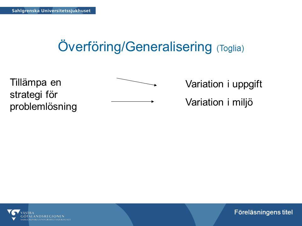 Överföring/Generalisering (Toglia)