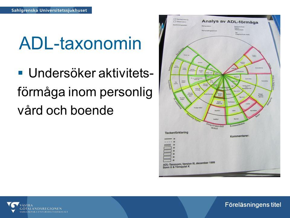 ADL-taxonomin Undersöker aktivitets- förmåga inom personlig