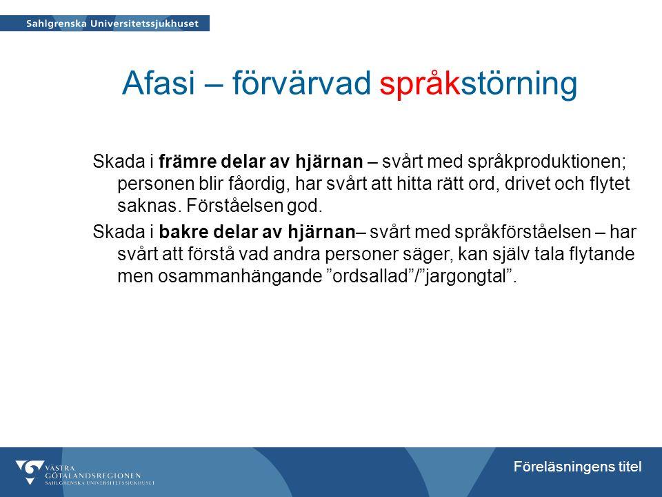 Afasi – förvärvad språkstörning