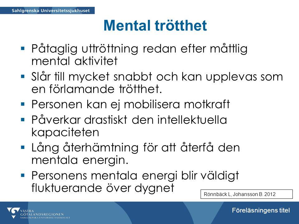 Mental trötthet Påtaglig uttröttning redan efter måttlig mental aktivitet. Slår till mycket snabbt och kan upplevas som en förlamande trötthet.