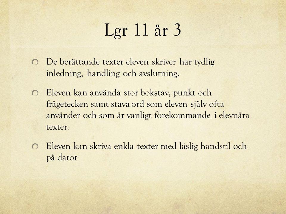 Lgr 11 år 3 De berättande texter eleven skriver har tydlig inledning, handling och avslutning.