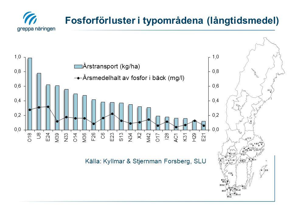 Fosforförluster i typområdena (långtidsmedel)
