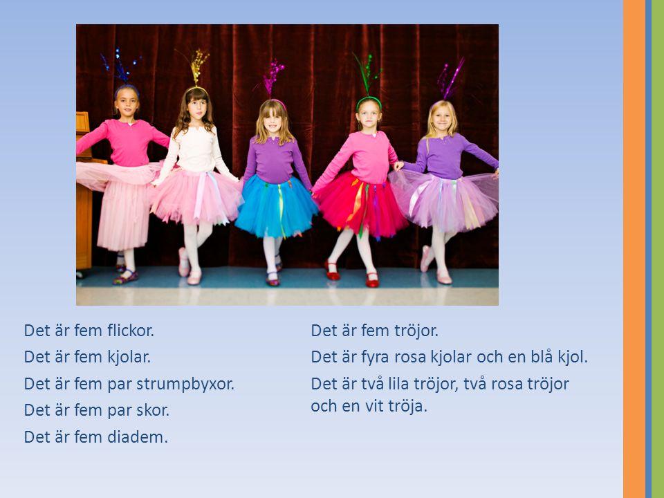 Det är fem flickor. Det är fem tröjor. Det är fem kjolar. Det är fyra rosa kjolar och en blå kjol.