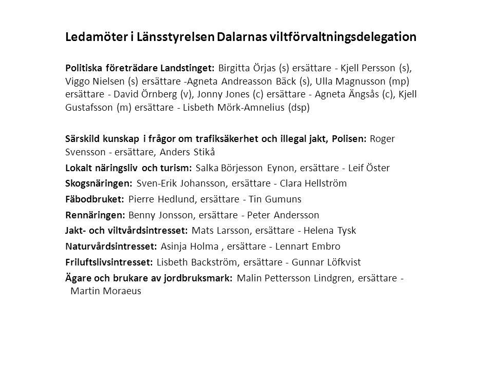 Ledamöter i Länsstyrelsen Dalarnas viltförvaltningsdelegation