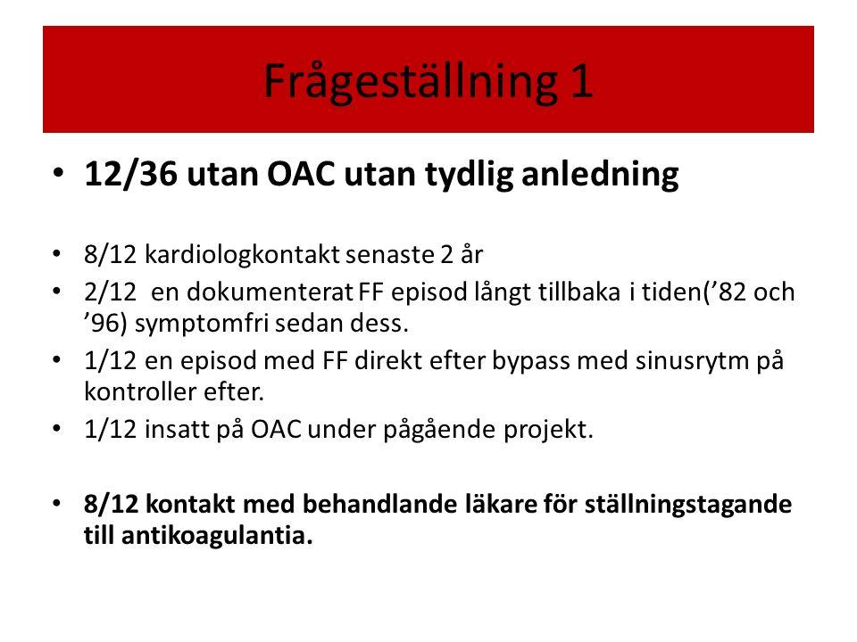 Frågeställning 1 12/36 utan OAC utan tydlig anledning