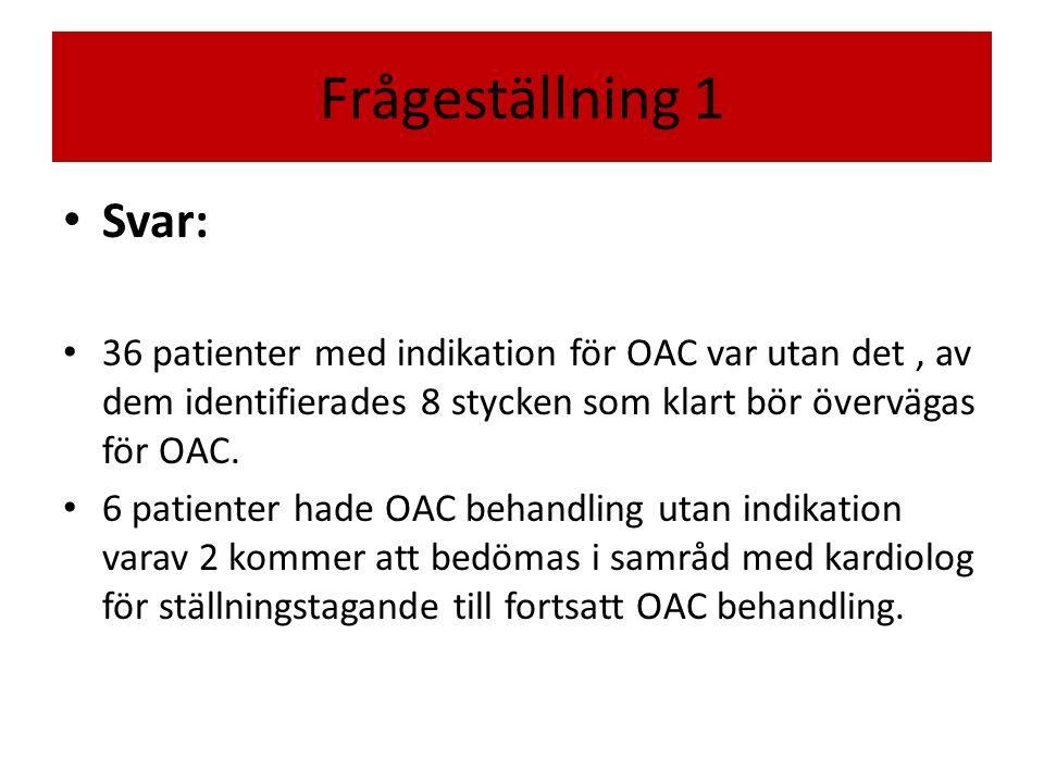 Frågeställning 1 Svar: 36 patienter med indikation för OAC var utan det , av dem identifierades 8 stycken som klart bör övervägas för OAC.