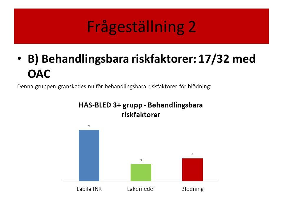 Frågeställning 2 B) Behandlingsbara riskfaktorer: 17/32 med OAC