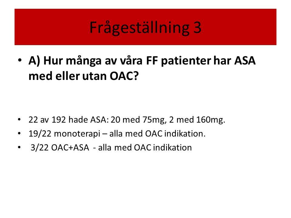 Frågeställning 3 A) Hur många av våra FF patienter har ASA med eller utan OAC 22 av 192 hade ASA: 20 med 75mg, 2 med 160mg.