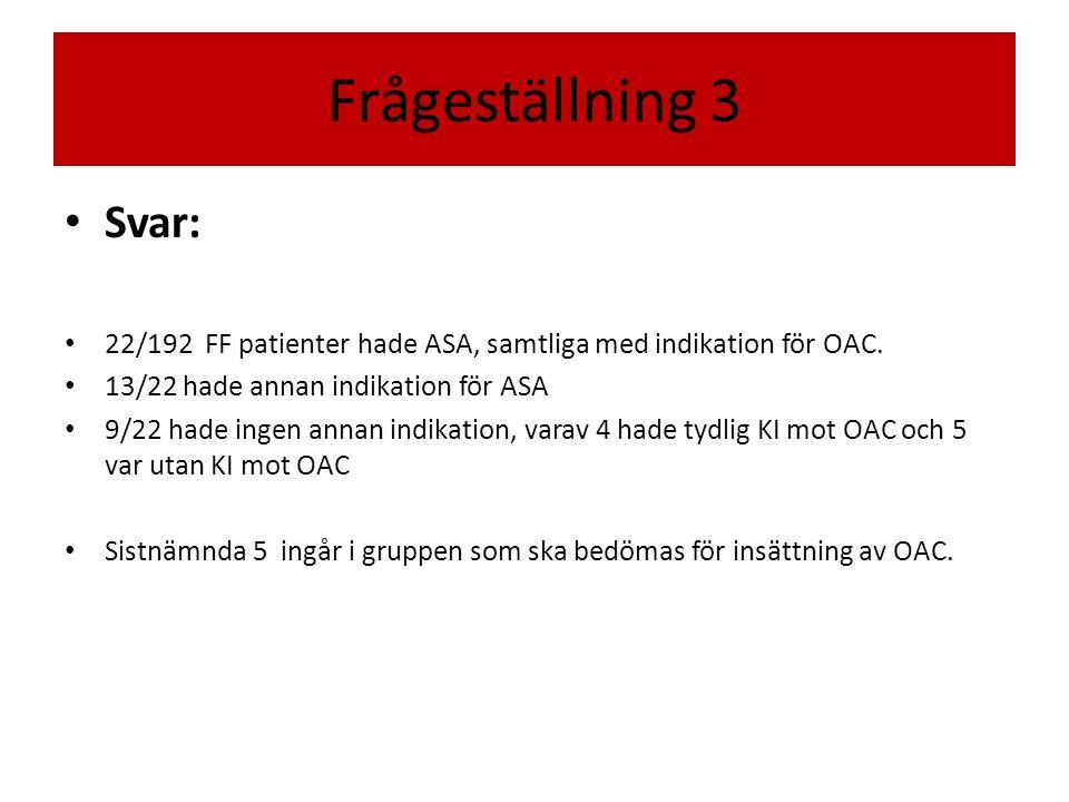 Frågeställning 3 Svar: 22/192 FF patienter hade ASA, samtliga med indikation för OAC. 13/22 hade annan indikation för ASA.