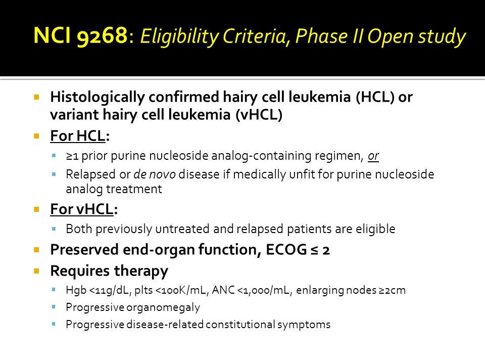 NCI 9268: Eligibility Criteria, Phase II Open study