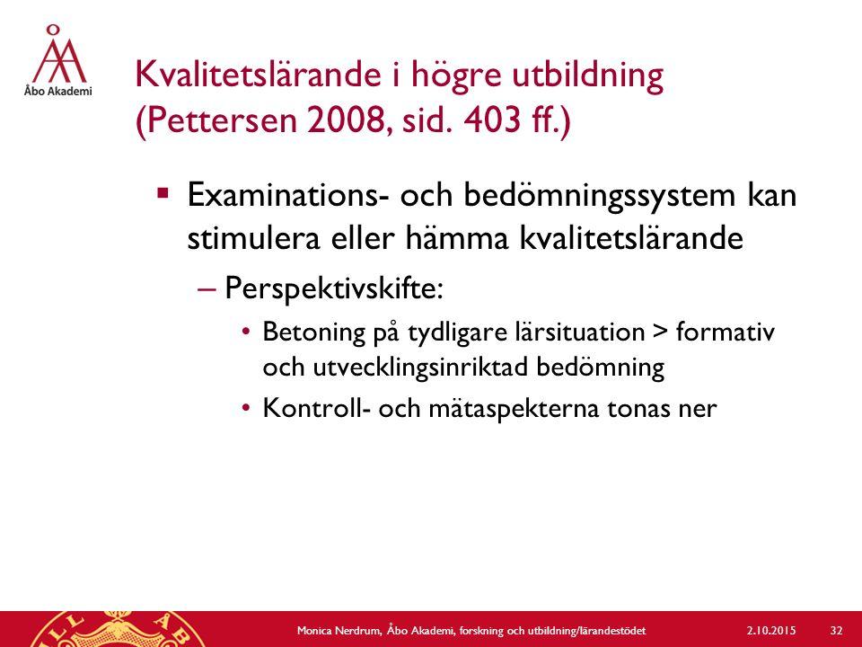 Kvalitetslärande i högre utbildning (Pettersen 2008, sid. 403 ff.)