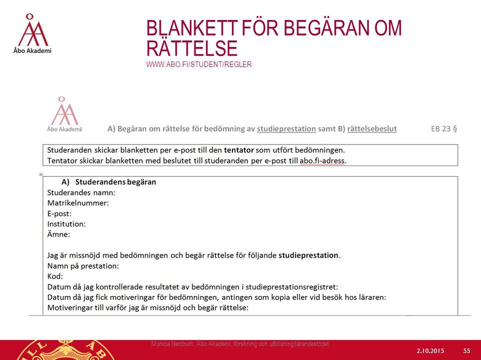 Blankett för begäran om rättelse www.abo.fi/student/regler