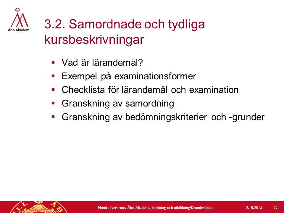 3.2. Samordnade och tydliga kursbeskrivningar