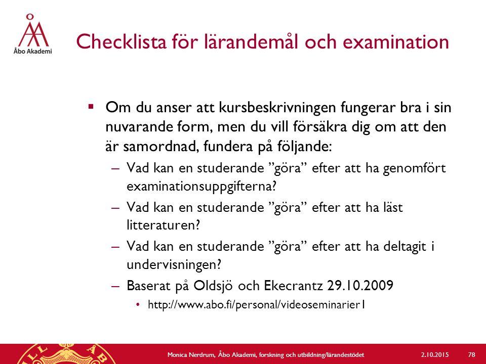 Checklista för lärandemål och examination