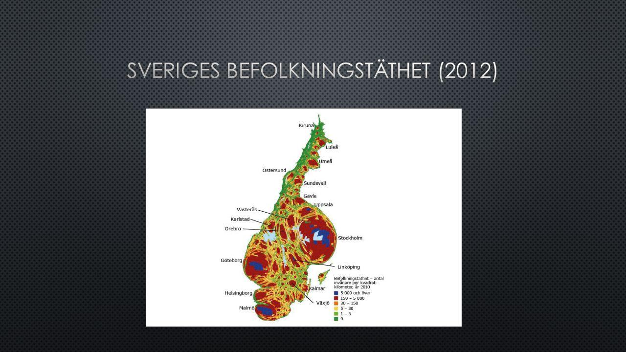 Sveriges befolkningstäthet (2012)
