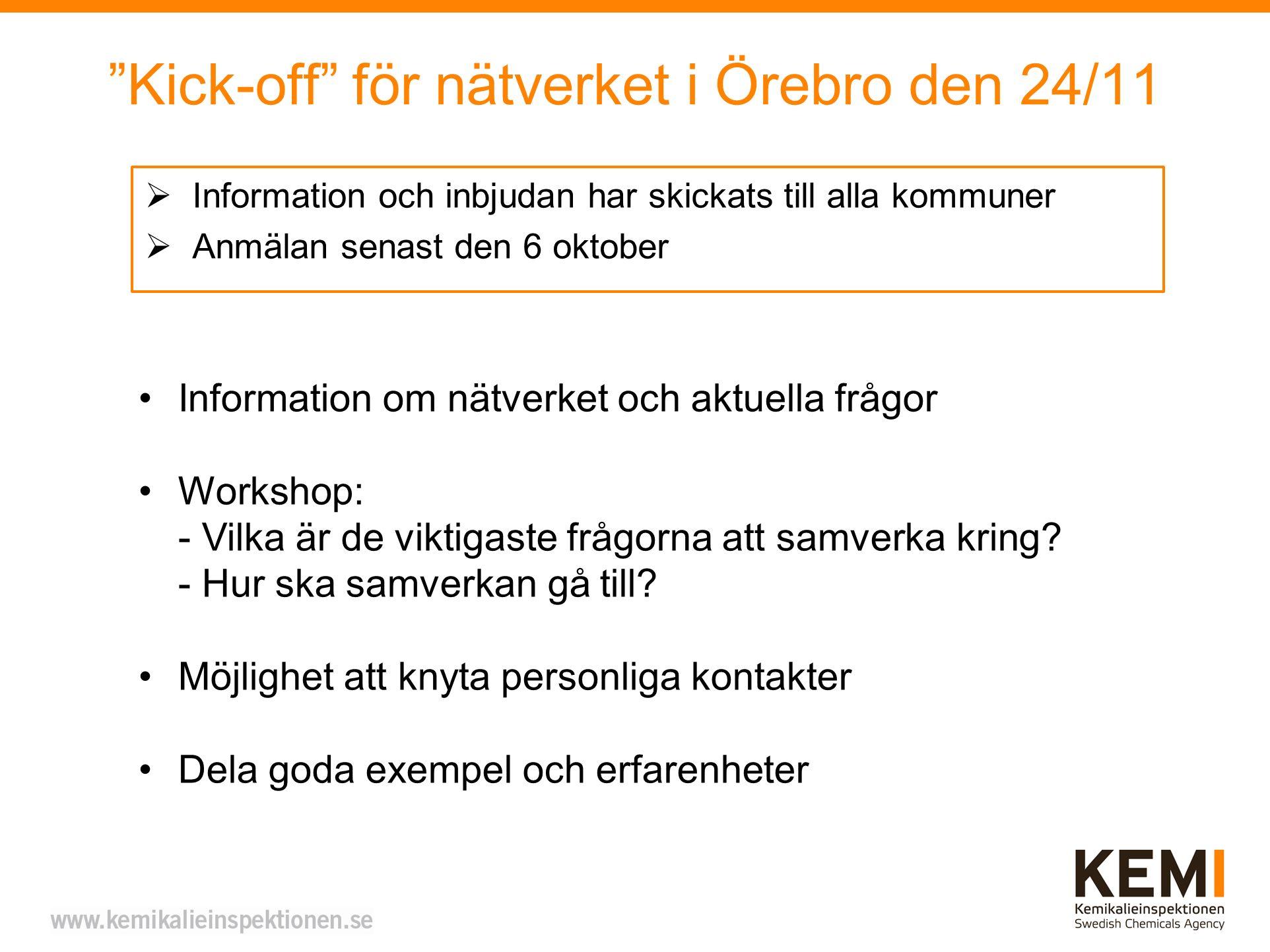Kick-off för nätverket i Örebro den 24/11
