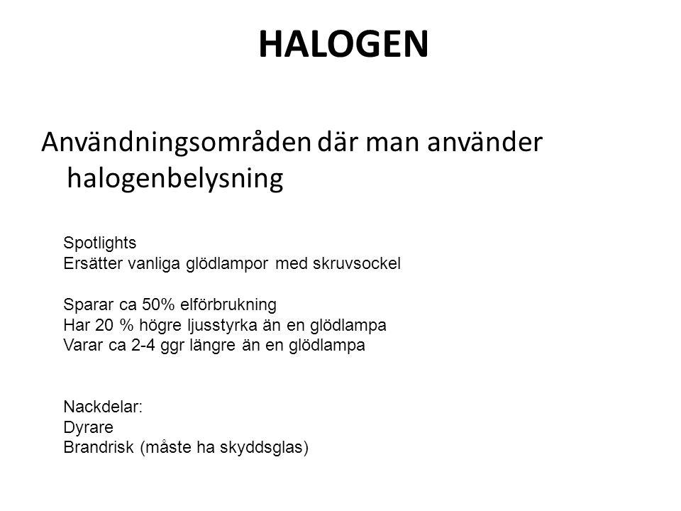 HALOGEN Användningsområden där man använder halogenbelysning
