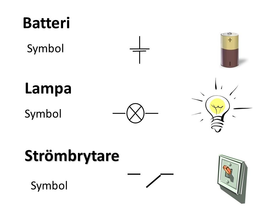 Batteri Symbol Lampa Symbol Strömbrytare Symbol