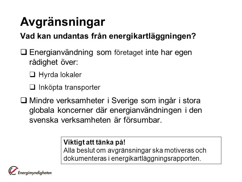 Avgränsningar Vad kan undantas från energikartläggningen