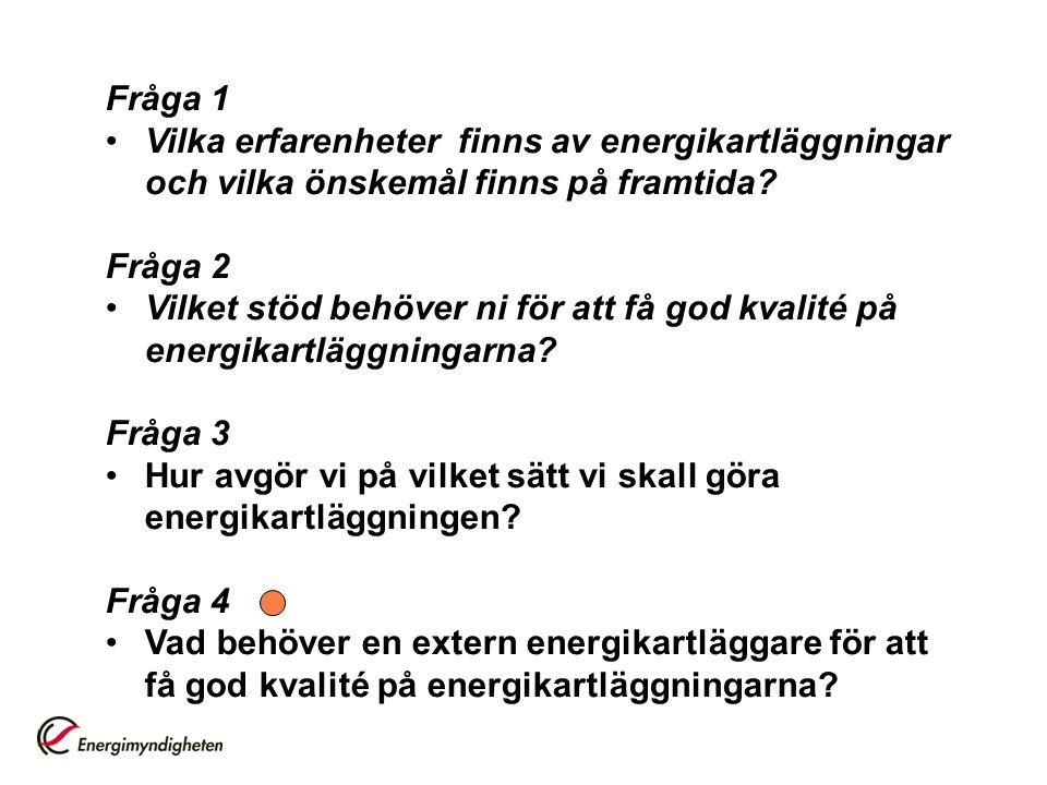 Fråga 1 Vilka erfarenheter finns av energikartläggningar och vilka önskemål finns på framtida Fråga 2.