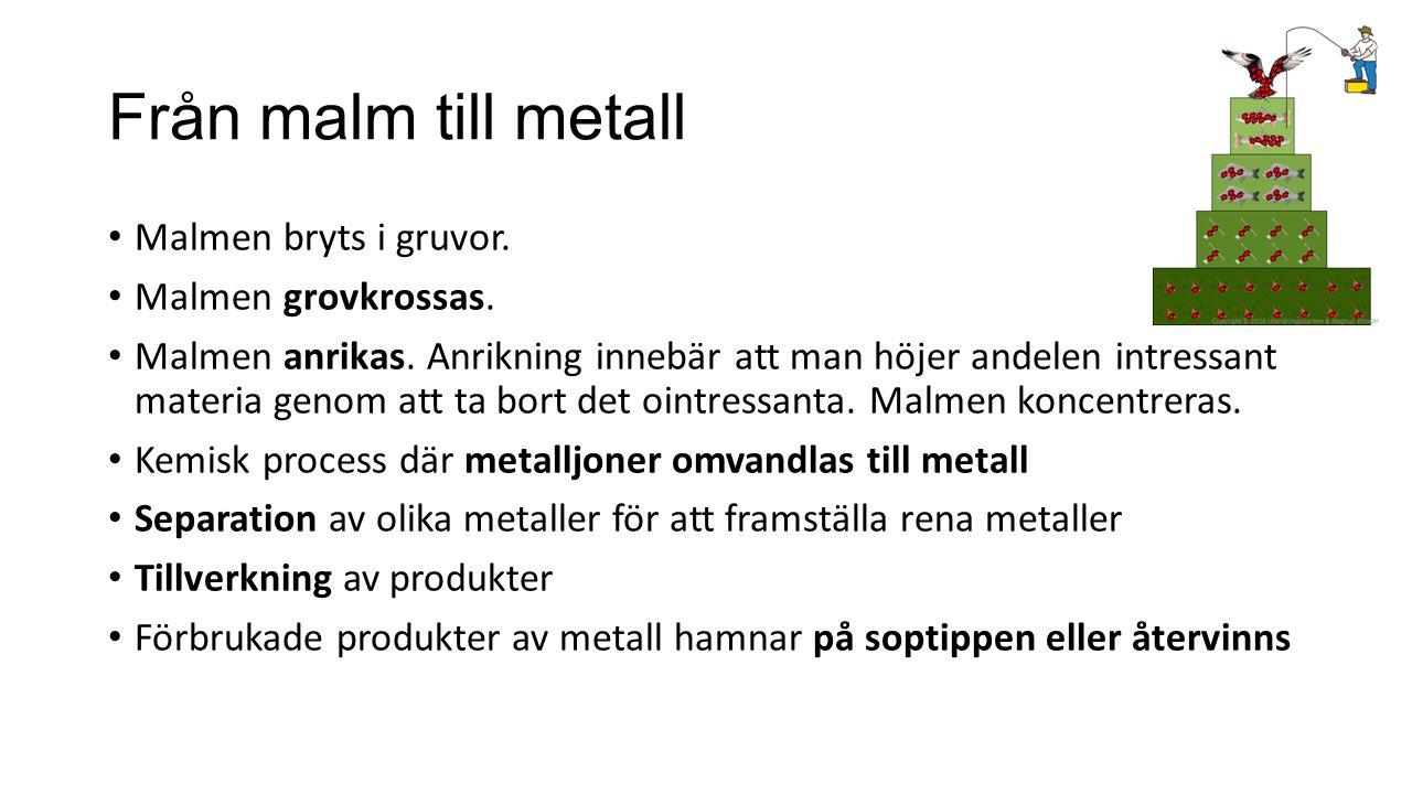Från malm till metall Malmen bryts i gruvor. Malmen grovkrossas.