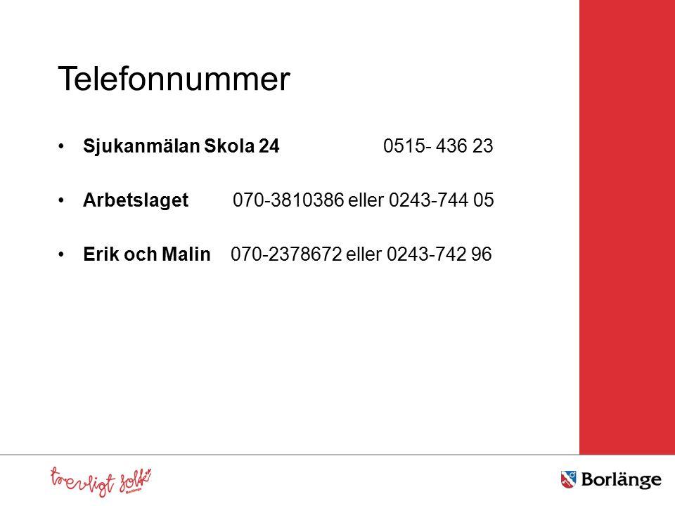 Telefonnummer Sjukanmälan Skola 24 0515- 436 23