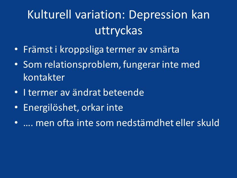 Kulturell variation: Depression kan uttryckas