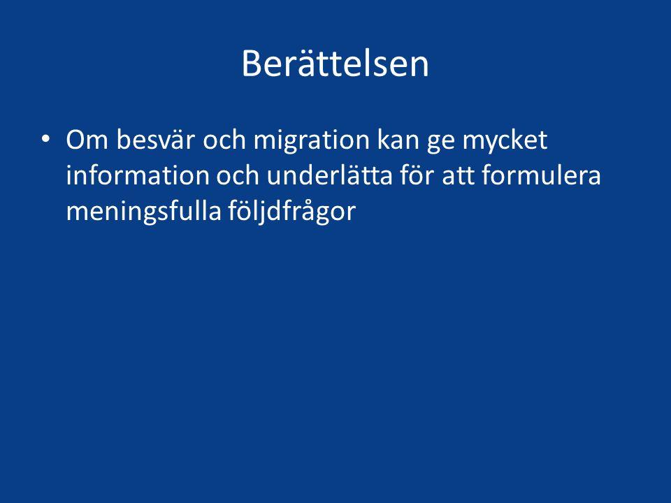 Berättelsen Om besvär och migration kan ge mycket information och underlätta för att formulera meningsfulla följdfrågor.